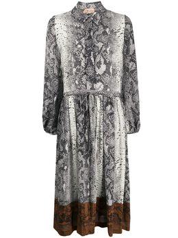 No. 21 платье-рубашка со змеиным принтом 20EN2M0H2425530