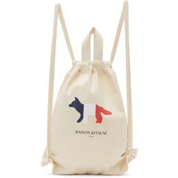 Maison Kitsune Off-White Tricolor Fox Tote Backpack DU05108WW0008