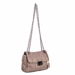 Prada Brown/Beige Gaufre Leather Chain Shoulder Bag 295529
