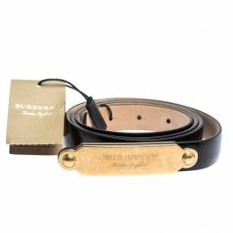 Burberry Black Leather Slim Reese Belt 105CM 295186