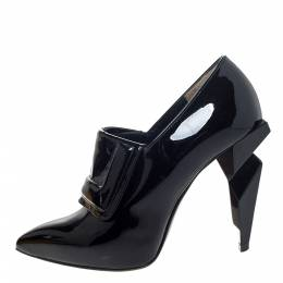 Fendi Black Patent Leather Ankle Boots Size 37 295811