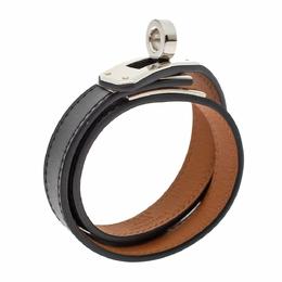 Hermes Kelly Black Leather Palladium Plated Double Tour Bracelet S 295253