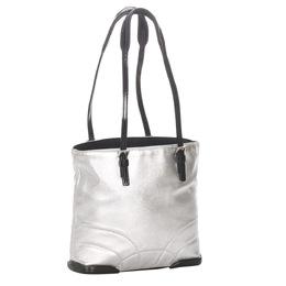 Prada Silver/Black Leather Tote Bag 295344