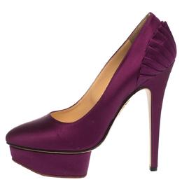 Charlotte Olympia Purple Satin Paloma Fan Pleat Platform Pumps Size 38 295816