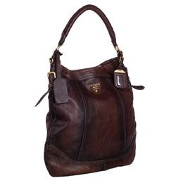 Prada Brown Leather Cervo Antik Hobo Bag 295530