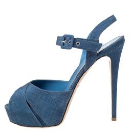 Le Silla Light Blue Canvas Cross Ankle Strap Platform Sandals Size 40 295778