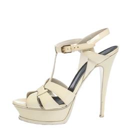 Saint Laurent Cream Patent Leather Tribute Platform Sandals Size 39 295833