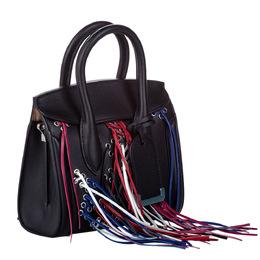 Alexander McQueen Black Leather Mini Tassel Heroine Satchel Bag 286648
