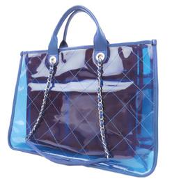 Chanel Blue Vinyl 2018 Quilted PVC Medium Coco Splash Shopping Tote Bag 286813