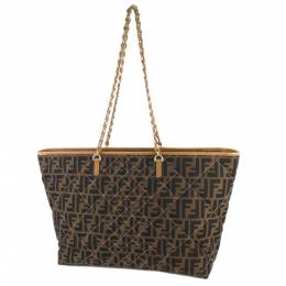 Fendi Brown Zucca Canvas Quilted Roll Tote Bag 286799