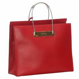 Balenciaga Red Leather Cable Shopper Tote Bag 281981