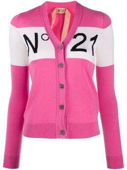 No. 21 logo-knit cardigan 20EN2P0A0097011