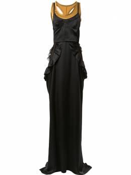 Vera Wang длинное платье с оборками R220G20