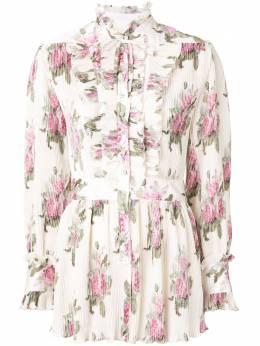 Paco Rabanne плиссированная блузка с цветочным принтом TO129