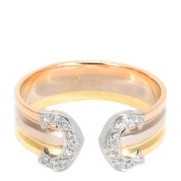 Cartier 18K Three Tone Gold Logo Diamond Ring Size 52 279509