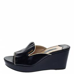 Prada Navy Blue Saffiano Patent Leather Wedge Slide Sandal Size 38 295853