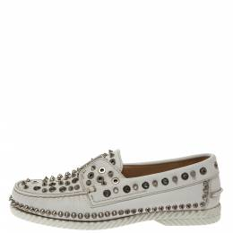 Christian Louboutin White Leather Studded Boat Deck Derby Size 40 295856