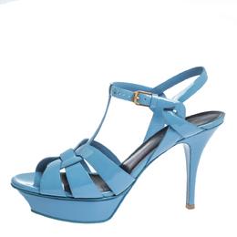 Saint Laurent Blue Patent Leather Tribute Platform Sandals Size 39.5 295993