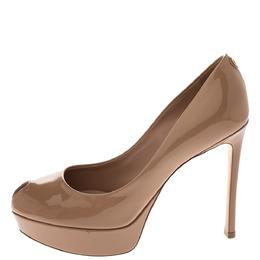Louis Vuitton Beige Patent Leather LV Logo Peep Toe Platform Pumps Size 37.5 295860