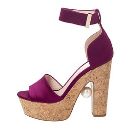 Nicholas Kirkwood Purple Satin Maya Pearl Platform Ankle Strap Sandals Size 36.5 295731