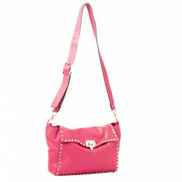 Valentino Pink Leather Rockstud Crossbody Bag 295296