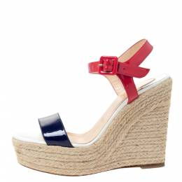 Christian Louboutin Tricolor Patent Leather Spachica Espadrille Wedge Sandals Size 37 295893