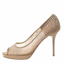 Jimmy Choo Beige Lace/Mesh and Patent Leather Luna Peep Toe Platfrom Pumps Size 38 295933