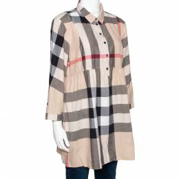 Burberry Brit Beige Exploded Check Cotton Tunic Top L 295746
