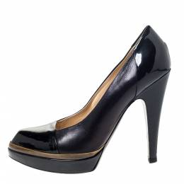 Saint Laurent Black Leather and Patent Leather Janis Pointed Toe Platform Pumps Size 37.5 295900