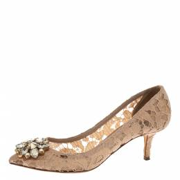 Dolce&Gabbana Beige Lace Bellucci Crystal Embellished Pointed Toe Pumps Size 38 295949