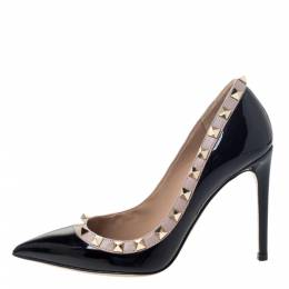 Valentino Black Patent Leather Rockstud Trim Pointed Toe Pumps Size 34.5 295837