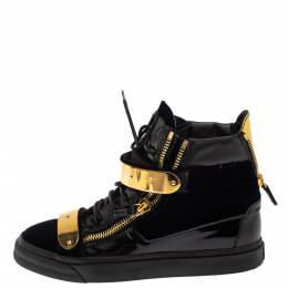 Giuseppe Zanotti Design Black/Blue Patent Leather and Velvet Coby High Top Sneakers Size 39 295849
