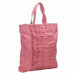 Valentino Pink Leather Bow Tote Bag 290350