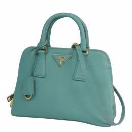 Prada Blue Saffiano Leather Promenade Small Satchel Bag 290156
