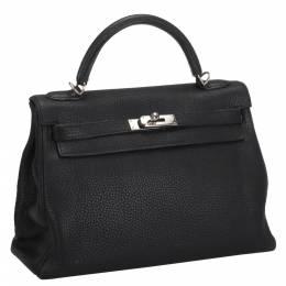Hermes Black Clemence Leather Palladium Hardware Kelly Retourne 32 Bag 290177