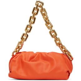 Bottega Veneta Orange The Chain Pouch Clutch 620230 VCP40