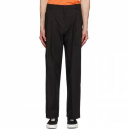 Maison Kitsune Black Single-Pleated Trousers EM01108WC0007