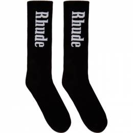 Rhude Black Vertical Logo Socks RHU07MS20198