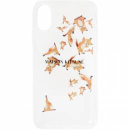 Maison Kitsune Transparent Aqua Yoga Fox iPhone X Case EU05613AP0004