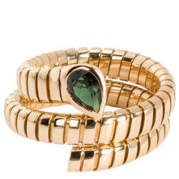 Bvlgari 18K Yellow Gold Serpenti Garnet Tubogas Ring Size 58 279170