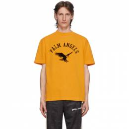 Palm Angels Yellow College Eagle T-Shirt PMAA001E20JER0122210