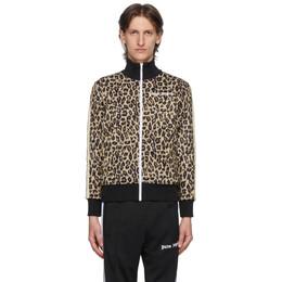 Palm Angels Beige and Black Leopard Track Jacket PMBD001E20FAB0071801