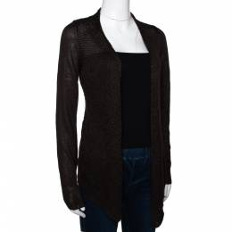 Loro Piana Brown Linen & Silk Knit Open Front Cardigan S 295865