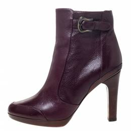 Fendi Burgundy Leather Zip Ankle Boots Size 39 295987