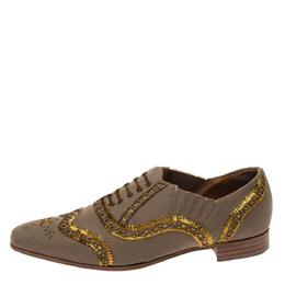 Christian Louboutin Beige Fabric Embellishments Paramount Slip On Oxfords Size 40.5 295985