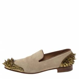 Christian Louboutin Beige Suede Ironito Loafers Size 40 295984