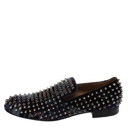 Christian Louboutin Blue Velvet Dandelion Spikes Loafer Size 40 295982