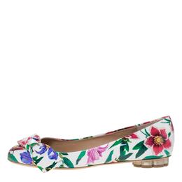 Salvatore Ferragamo White Floral Print Patent Leather Avola Bow Ballet Flats Size 39.5 295725