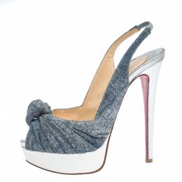 Christian Louboutin Tricolor Denim and Patent Leather Jenny Knotted Slingback Sandals Size 36 295931