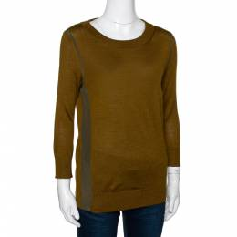 Fendi Olive Green Cashmere & Silk Trim Long Sleeve Jumper S 295906